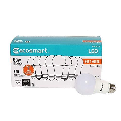 EcoSmart 9.5 Watt (60W Equivalent) Soft White A19 Non-Dimmable LED Light Bulb 1 Box (8 Bulbs Total)