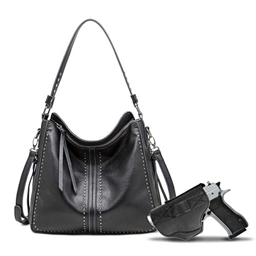 Black Large Concealed Carry Hobo Purses for Women Studded Leather Crossbody Shoulder Handbags With Gun Holster - Conceal Weapon Birthday Gift Ladies MWC-G1001BK
