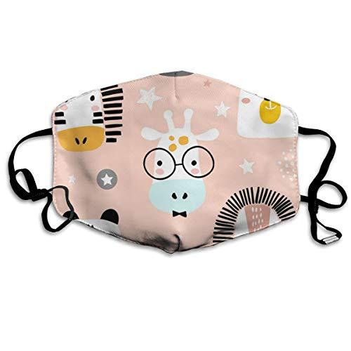 Architd Nahtlose Kinder-Maske mit lustigen Tiergesichtern, Mundmaske, Baumwolle, waschbare Stoffmasken für Männer und Frauen, zum Radfahren, Camping, Reisen