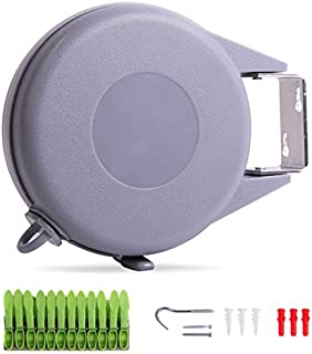 Drynatural Retractable Clothesline Indoor Outdoor Wall Mounted Clothes Dryer with Adjustable Rope String 49ft Long Single Washing Line