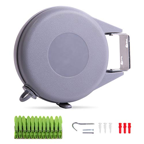 Drying Natural Retractable Clothesline Outdoor Indoor Laundry Line-49 FT Single Line Heavy Duty Wall Mounted Portable Clothes Drying Line Grey