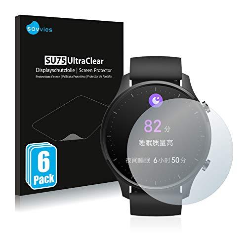 savvies 6-Pezzi Pellicola Protettiva Compatibile con Xiaomi Mi Watch Revolve Protezione Schermo Trasparente