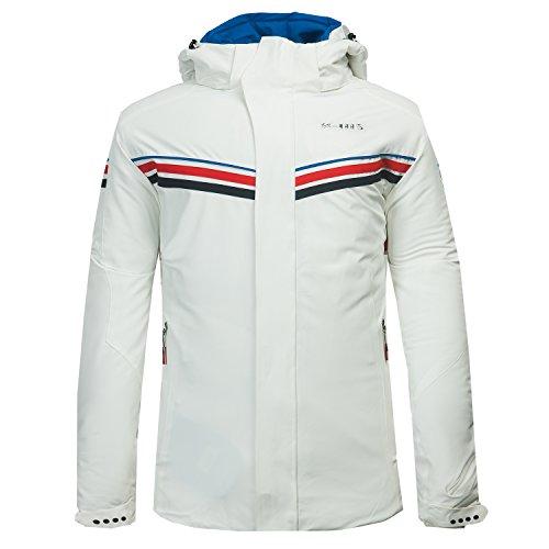 XMS Homme Coupe-Vent Capuche Coton matelassé Manteau Imperméable Sport d'hiver Outdoor Veste de Ski Neige Snowboard (Medium, Blanc)