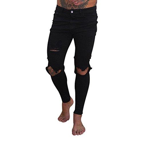 Qmber Jeans Herren Slim fit Schwarze Skinny Destroyed Hose Herren Jeans Destroyed Sommer Hosen Herren Jogger Jeans mit löchern schwarz Stretch - Herren Jeans Zip Streetwear Hosen (S, A)