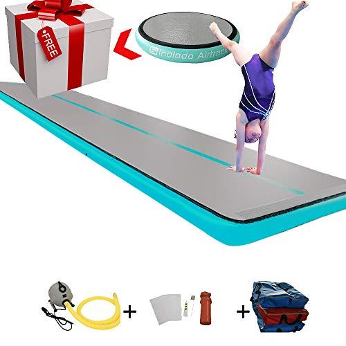 Sinolodo - Colchoneta hinchable para ejercicios de gimnasia, equipo de gimnasia, 40'x6.6'x8''/ 12x2x0.2m, Azul (lakeblue)