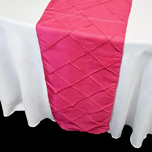 PaperLanternStore.com Fuchsia/Hot Pink Pintuck Chameleon Table Runner - 12 x 108 Inch