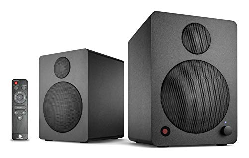wavemaster CUBE MINI NEO black - Regallautsprecher-System (36 Watt) mit Bluetooth-Streaming, Digitalanschluss und IR-Fernbedienung, Aktiv-Boxen, Nutzung für TV/Tablet/Smartphone, schwarz (66370)