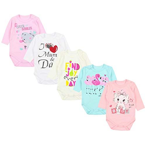 TupTam Baby Unisex Langarm Body mit Aufdruck Spruch 5er Pack, Farbe: Mädchen 4, Größe: 56