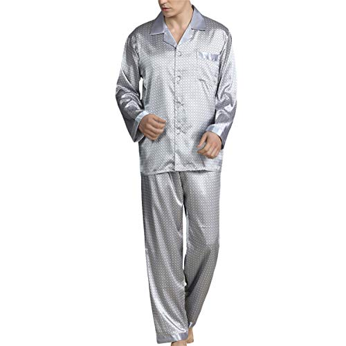 Allthemen Pijama largo para hombre, de satén, para casa, de manga larga y pantalones de pijama...