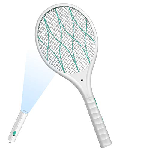 FLASHVIN Electric Large Bug Zapper Racket, Mosquito killer, Fruit Fly Swatter Zap, Pest Control, 4,000 Volt, USB Rechargeable, LED Lighting, Removable flashlight, Unique 3 Layer Safety Mesh Safe White