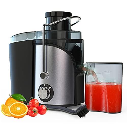 Licuadoras Para Verduras y Frutas, 400 W 27000RPM Exprimidor de Zumos y Extractor de Jugo Acero Inoxidable de Grado Alimenticio Llibre de BPA, 65MM de Boca Ancha, 2 Velocidad con Función Aanti-goteo