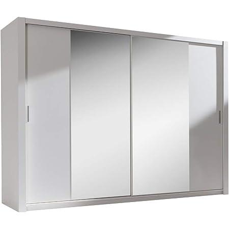 Selsey ORDU - Armoire Portes coulissantes (Blanc/Miroir, 220 cm)
