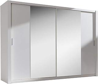 Selsey ORDU - Garde-Robe Portes coulissantes (Blanc/Miroir, 220 cm)