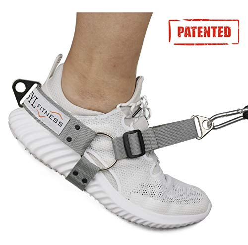 SYL Fitness Fußschlaufen für Kabel-Maschinen und Widerstand Band - Booty Builder Ankle Straps für Glute Übungen gesäß Training - Home und Gym Beinwiderstand Booty Building (Grau, Damen 1 Paar)