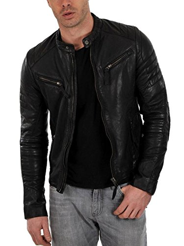 Laverapelle Men's Genuine Lambskin Leather Jacket (Black, Large, Polyester Lining) - 1501025