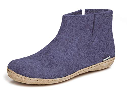 glerups dk Unisex - Erwachsene Hausschuhe, Damen,Herren Hüttenschuhe,Ledersohle, Slipper Puschen Stiefel lammfell Merino-Wolle,Violett,39 EU / 6 UK