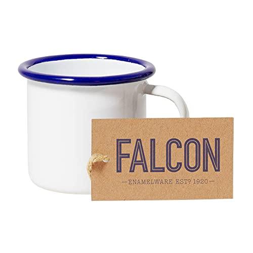 Falcon Enamelware - Tazzina per caffè espresso, colore: Bianco con bordo blu