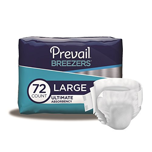 Prevail Breezers Incontinence Briefs, Ultimate Absorbency, Large, 72 Count