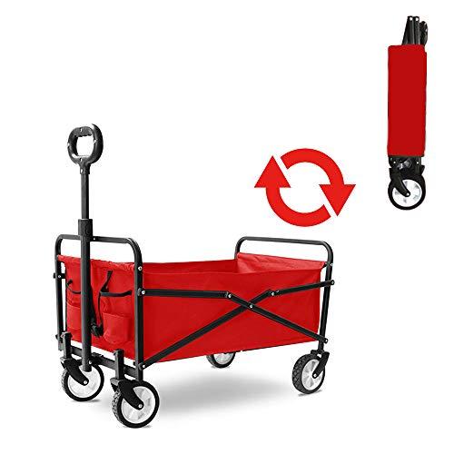 WYLDDP Faltbarer Gartenwagen | Strand Einkaufswagen mit Ablagekorb | 71 × 43 × 25 cm, verwendet für Camping, Haustiere, Einkaufen,Rot