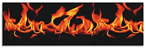 Artland Spritzschutz Küche aus Alu für Herd Spüle 180x55 cm Küchenrückwand mit Motiv Feuer Flammen Modern Abstrakt Dunkel Schwarz T5OD
