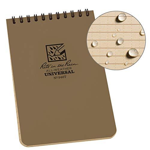 Rite in the Rain Allwetter top-Spiral Notebook, 10,2x 15,2cm Bezug braun, Universal Muster (Nr. 446), Pocket Notebook, Tan/Tan