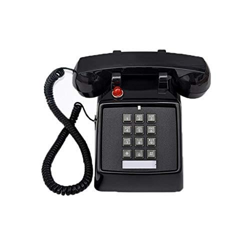 Unbekannt Festnetz Telefon Alte Knopf-Art Antikes komplexes örtlich festgelegtes Telefon Antiquitäten, die Hotel-Festnetztelefon klingeln (Color : Black)