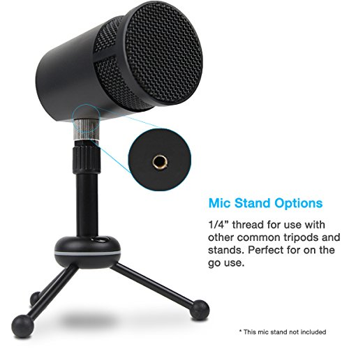 Music Mic Compatible with PC and Mac Cyber Acoustics USB Condenser Microphone for Podcasts CVL-2008 4 Recording Patterns Vocal Gaming Studio and Computer Recordings