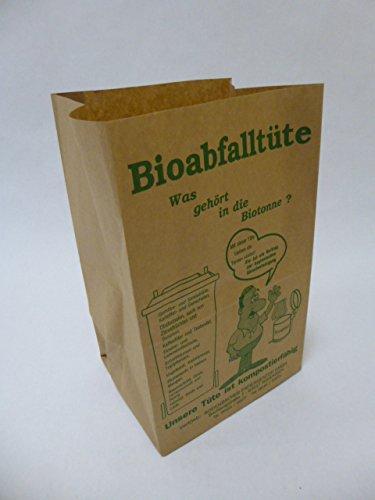 100 St. Bio Kompostbeutel, Blockbodenbeutel bedruckt Format 175x140x280 mm mit vorgeformten Standboden, Kompostbeutel, Müllbeutel, Mülltüten, Biobeutel