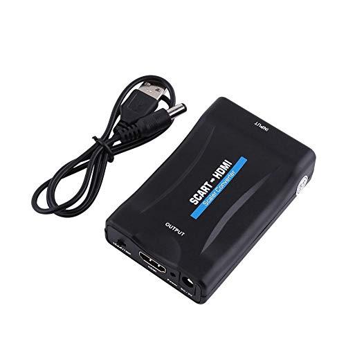 Hakeeta Convertidor de Scart a HDMI 720p-1080P de euroconector a HDMI de Audio vídeo Escalador Apoyo PAL, NTSC3.58. NTSC4.43, SECAM, PAL/M, PAL/N formatos de Entrada de TV estándar con Cable USB