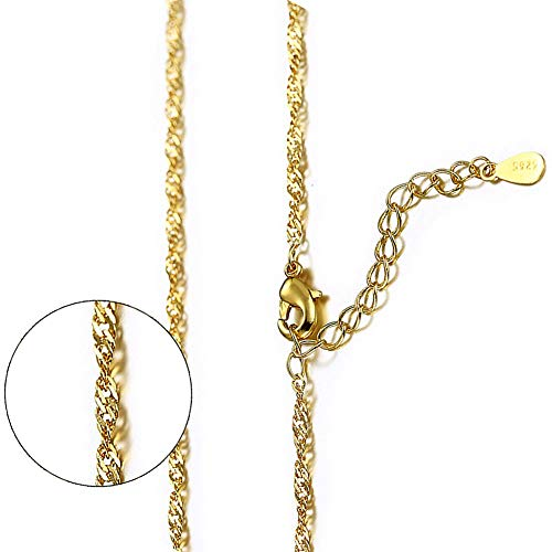 lffopt 24K Gold Chain Necklace Chain Necklace for Women Elegant Necklace Necklace for Birthday Unusual Necklace Classic Necklace Romantic Necklace