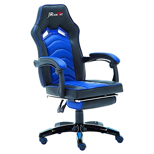 JR Knight Ergonomic Gaming Chair, Home Office Desk Computer Chair with Adjustable Armrests, Executive Swivel PU Leather Chair with Recliner and Footrest (Black&Blue)