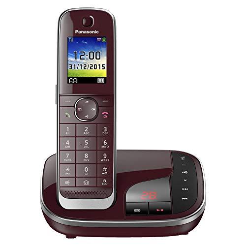 Panasonic KX-TGJ320GR Familien-Telefon mit Anrufbeantworter (schnurloses Telefon, strahlungsarm, Anrufschutz, DECT Basisstation, Freisprechen) weinrot