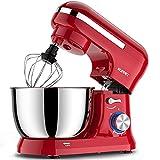 Batidora amasadora Vospeed 1500W 8L batidora para reposteria de la torta del mezclador eléctrico de cocina batidora con tazón de acero inoxidable, batidor, gancho amasador (Rojo)