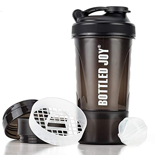 Protein Shaker Bottle with Storage Mixing Ball 100% BPA Free Leak Proof Smoothies Nutrition Shaker Cups Strong Durable Sports Gym Diet Fitness (Black)