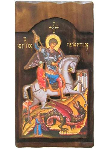 K4 Holzikone des griechisch-christlich-orthodoxen Georgs reitet sein Pferd & das Biest töten