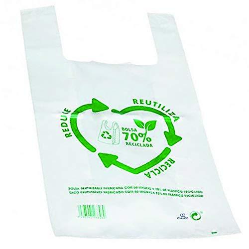 Bolsas de Plástico Tipo Camiseta Resistentes, Reutilizables y 70% Recicladas | Galga 200 | Tamaño L 35x50 cm | Gran Resistencia - 120 uds | 70% Recicladas | Cumple Normativas | Aptas Uso Alimentario