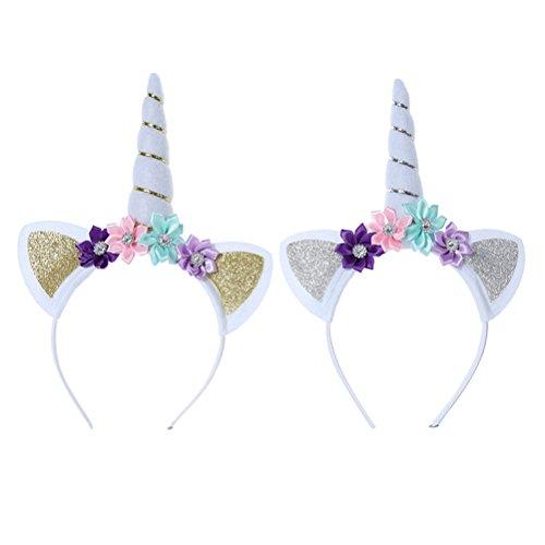Yeahibaby 2 unicornios perlas florales perlas bandas para el cabello aros de oro y plata vendas del unicornio fiesta de cumpleaños suministros favores decoraciones para niñas (oro y plata)