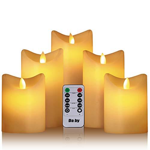 Da by Led flammenlose Kerze Höhe 10 cm × 2, 15,5 cm × 2, 16,5 cm × 1, Durchmesser 8 cm, 5PCS neueste Batterie Kerze