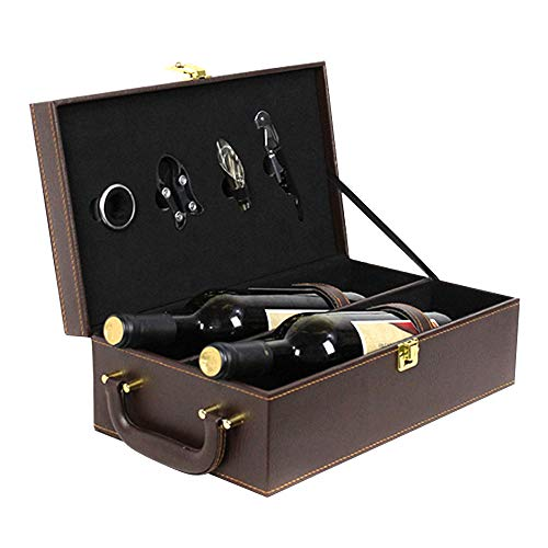 Antike Weinkiste Holz - 2-Flaschen-Top-Griff Travel Wine Carrier Box, Weinkeller Geschenkbox zum Weihnachtsgeburtstag,Braun