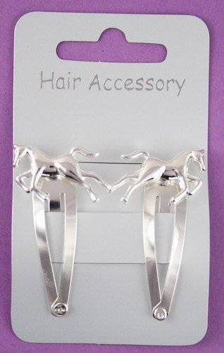 Pony Haarklammer, mit Pferdemotiv, silberfarben, 2Stück