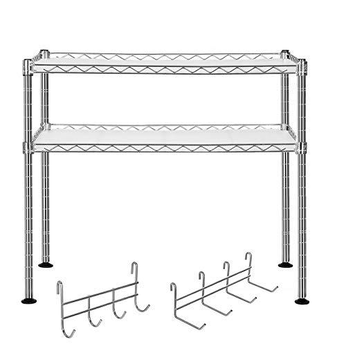 SONGMICS Küchenregal Mikrowellenhalter Super Stahlqualität, Breite 60 cm, belastbar mit max. 80 kg, Gewürzregal Verchromt, mit 8 Haken 2 Ablagen für kleine Küchen LGR20C
