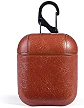 Mysail Leather Skin Fit Vintage Matte Leather Hook Case Cover Compatible with Apple Airpods Protective - Brown