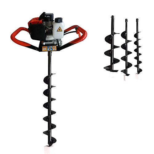 """Earth Auger Power Head, 52CC Gas Powered Post Hole Digger Petrol Drill with 3 Auger Drill Bits (4"""" 6"""" 8"""") for Farm Garden Fence and Planting"""