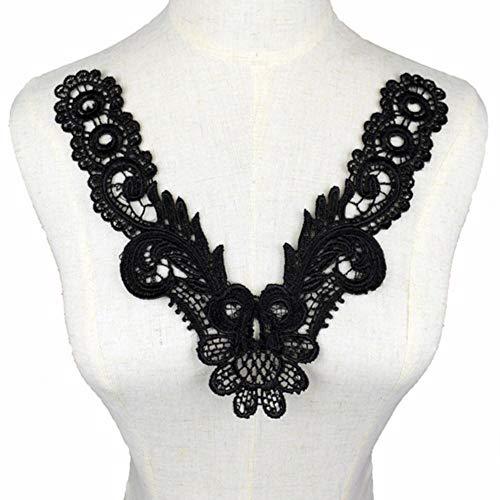 Adorno de tela de encaje para coser ropa de vestido apliques motivo blusa costura bordado DIY escote cuello disfraz decoracin-25