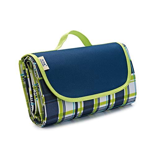 folconauto Picknickdecke – wasserdicht & tragbar & faltbar – für Outdoor Wandern / Camping / Reisen, Blaue Plaids, M
