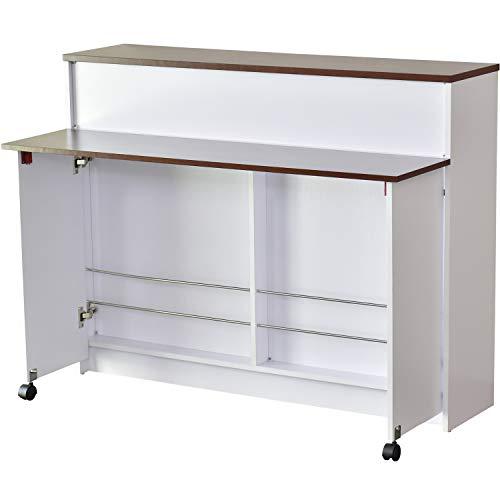 DORIS キッチンワゴン カウンターテーブル キッチンカウンター 伸長式 キャスター付き ダイニングに最適 一般的なダイニングテーブルと同じ高さ72.5cm 幅90cm 組立式 ウォルナット ポレロ