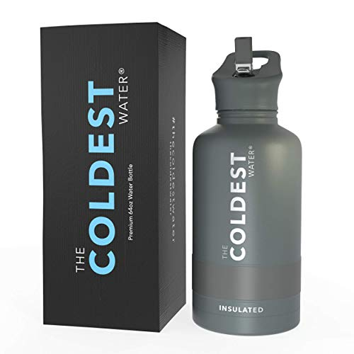 The Coldest Water Bottle - 64 oz Sports Wide Mouth Hot Cold, Modern Double Walled, Simple Thermo Mug, Hydro Metal Canteen Cold 36+ Hrs (Gun Metal, 64 oz)