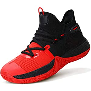 ASHION Kid's Basketball Shoes Boys Sneakers Girls Trainers Comfort High Top Basketball Shoes for Boys(Little Kid/Big Kid),2 Red,Size 5
