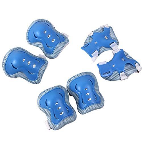 HYE Protección Skate Rodilleras Coderas Muñequeras,Kit de Engranajes Protectores 6 en 1 Ajustables,para Patinaje Adulto Skatinging Scooter Bicicleta,Azul