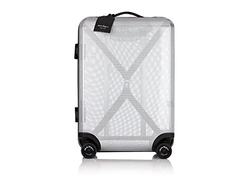 Best Buy! Salvatore Ferragamo Cabin Four Wheeled Trolley Carry-on (One size, Grey Clear)